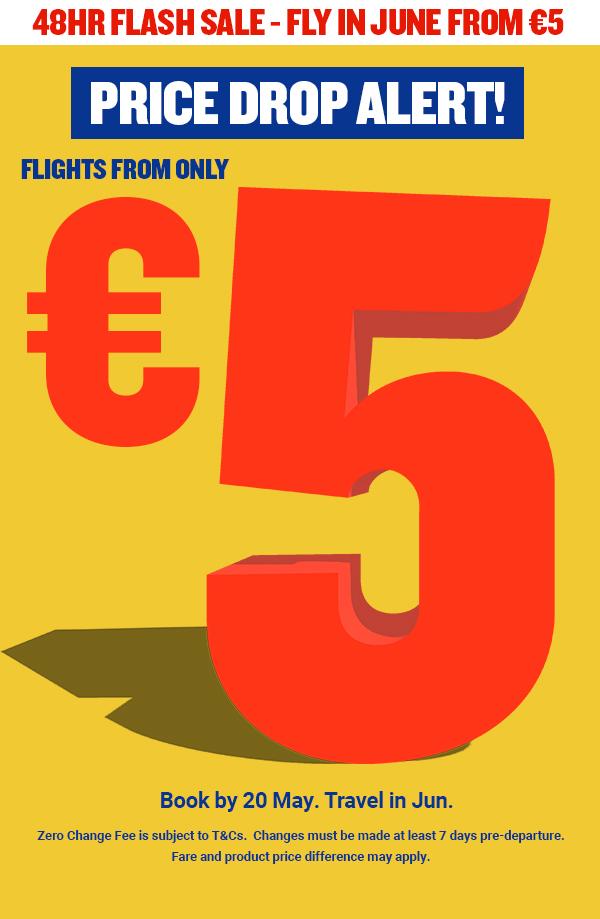 Vuelos desde solo €5! Gran bajada de precios
